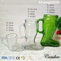 33oz 21oz 8oz Handle Boot Shaped Glass Cup Drinkware For Juice/Beer