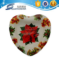 Good design deep heart shaped plastic christmas plate decoration
