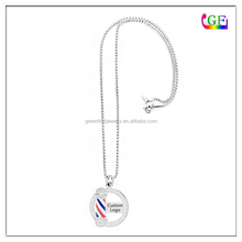 Hair Designer Stylist barber pole Necklace with logo engraving