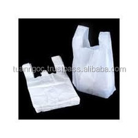 T-shirt bags made of virgin or recycled plastic material, safe for food export to Japan, Singapore,