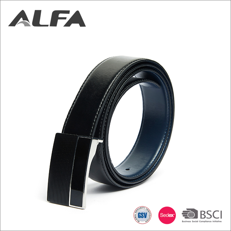 Alfa Man Belt Factory High Quality Automatic Buckle Black Split Leather Belt For Teens