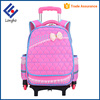 Best selling detachable kids 3 wheel school bag for girls, cute butterfly knot comfortable cheap trolley backpack for kids