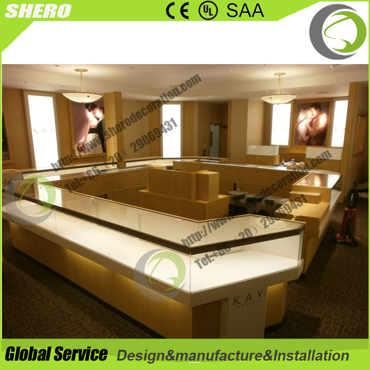 Mall standard quality tempered glass MDF jewelry store furniture