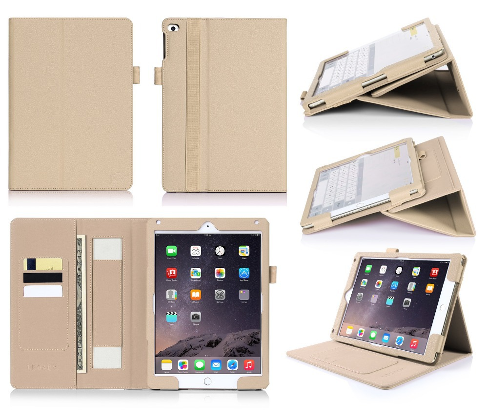 Customize Logo Wallet Cover Case Flip Leather Stand Tablet Case For iPad Air 2
