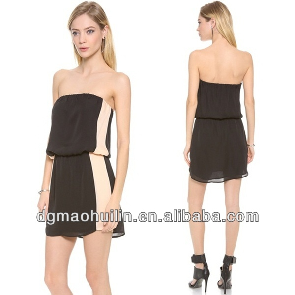 Summer Strapless Casual Chiffon Dress Korean Product