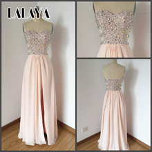 Pink Strapless Prom Dresses Long Dress