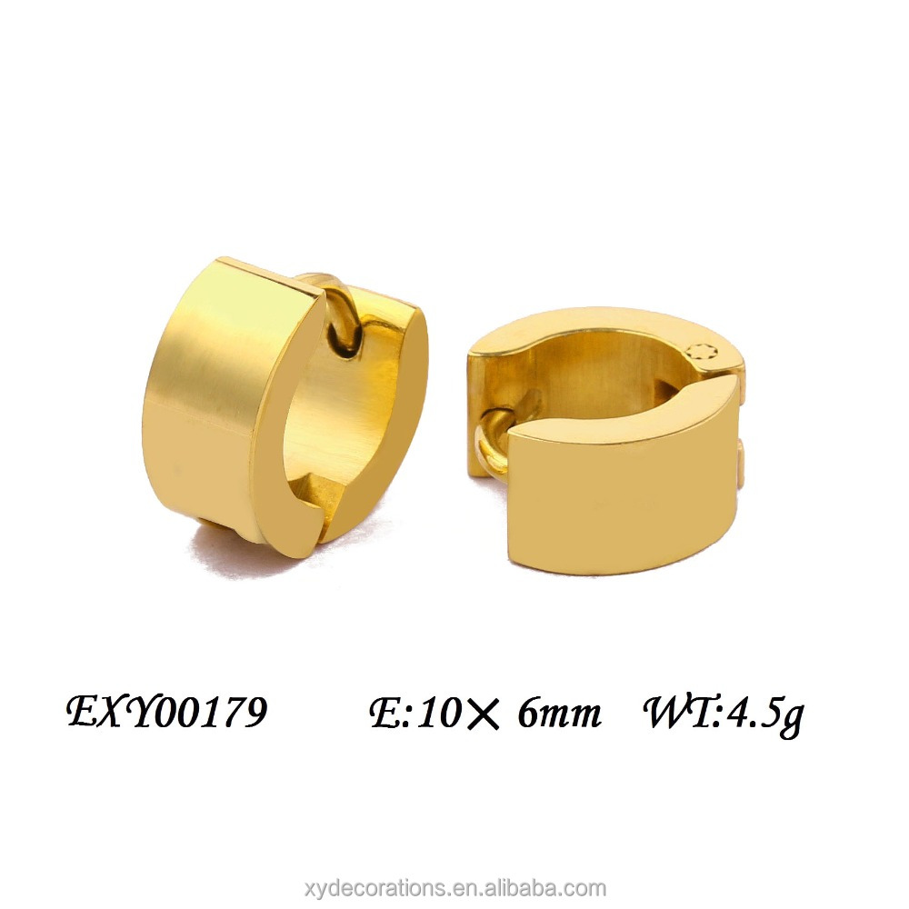 EXY00179 Men and Women 316L Stainless Steel Yellow Gold Hoop Huggie Hoop Earrings