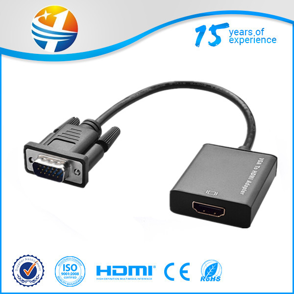 High quality VGA Male To HDMI Output 1080P HD +Audio TV HDTV Video Cable Converter Adapter
