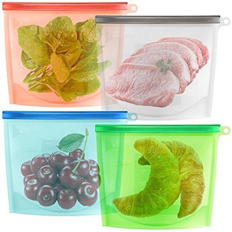 Custom Logo Zip Lock Reusable Silicone Food Freezer Storage Bag