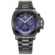 Megir Brand watches made in china Quartz calendar men Stainless steel watch