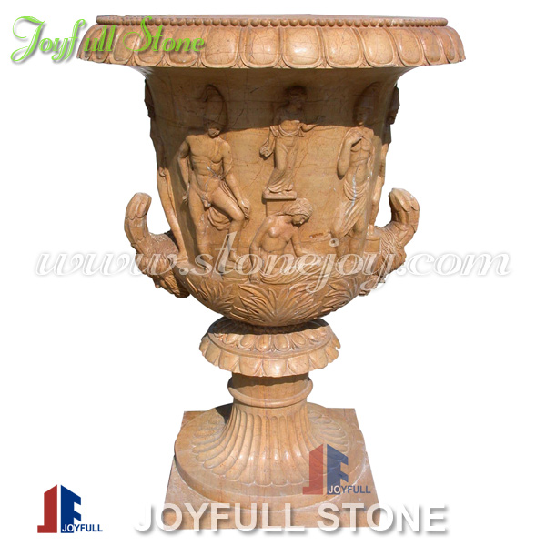 Yellow Marble Garden Flower Vases and Pots