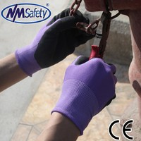 NMSAFETY knit nylon/polyester liner palm latex coated industrial/mechanic protective gloves Friction resistant gloves