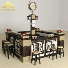 Mall inside middle size display cases for retail round shape counter Fruit Juice kiosk wood fresh fruit juice food kiosk