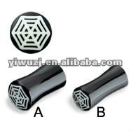 wholesale dauble flared with spider web inlay bone horn plug