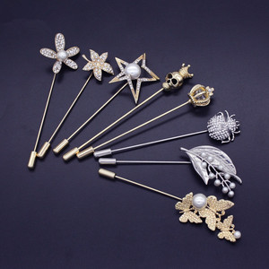 Fashion insects Maple leaf Crystal pin brooch suit pearl brooch for clothes accessories