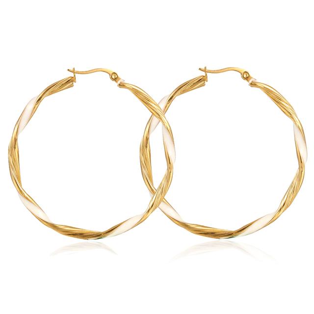 Fashion Simple Design Dubai Gold Jewelry Earring Twisted Gold Hoop Earrings For Women