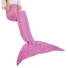 2017 New Cheap wholesale sofa knitted blanket mermaid tail blanket