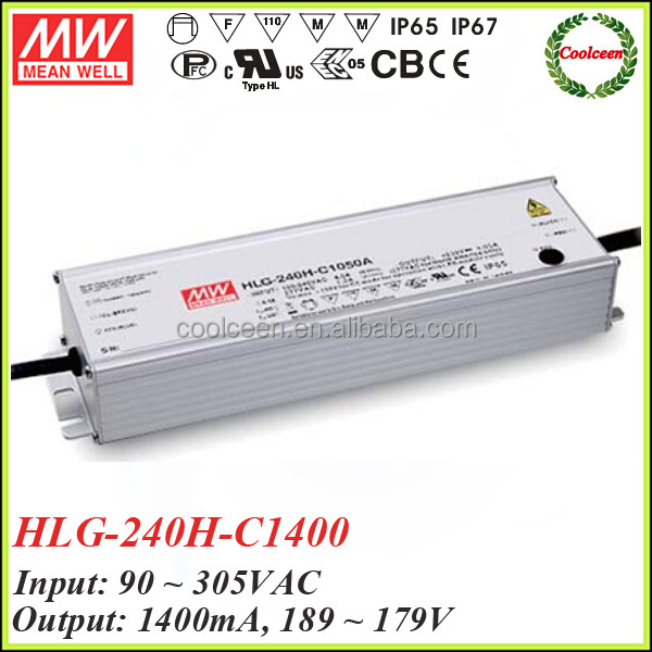 Meanwell HLG-240H-C1400 ip67 waterproof dimming led driver 1400ma