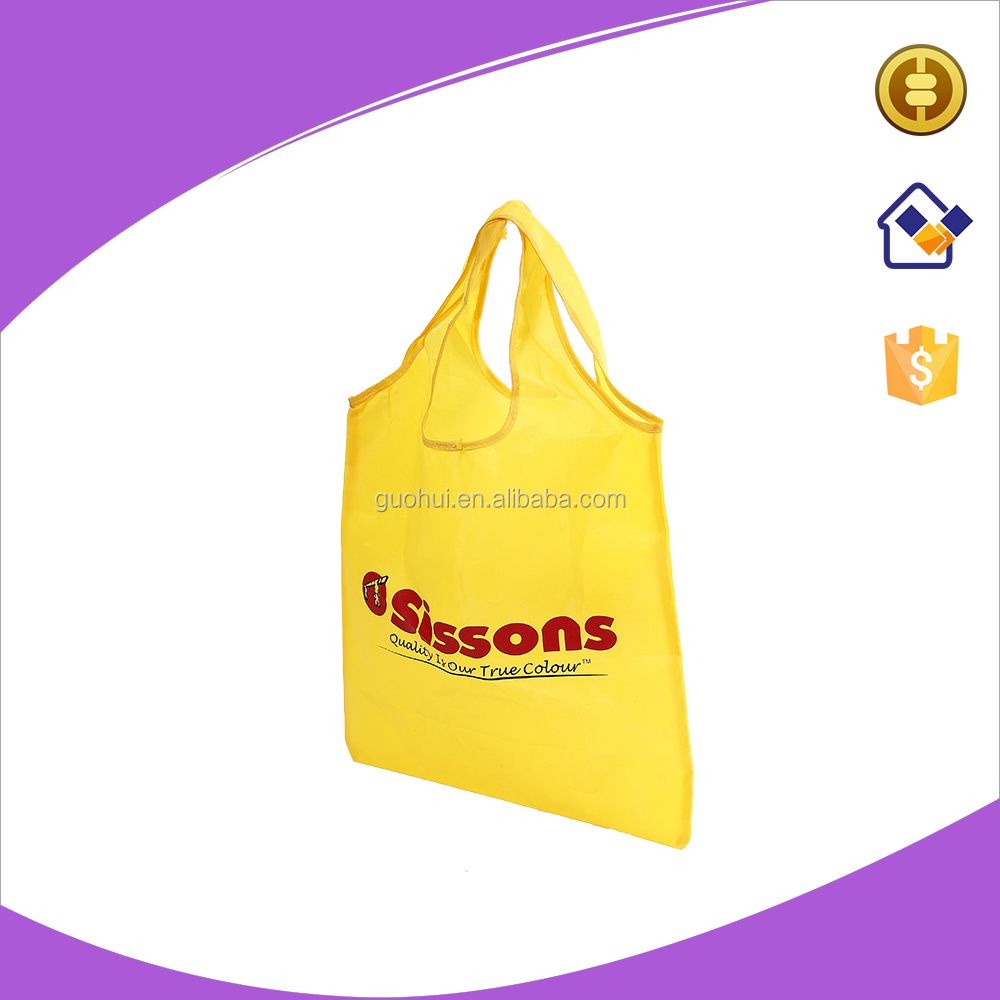 Punch style polyester shopping bags with silk screen printing for promotional