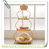 New European Cake Rack Fruit Bowl Wrought Iron Frame Three Layer Cake Stand Multilayer Fruit Plate