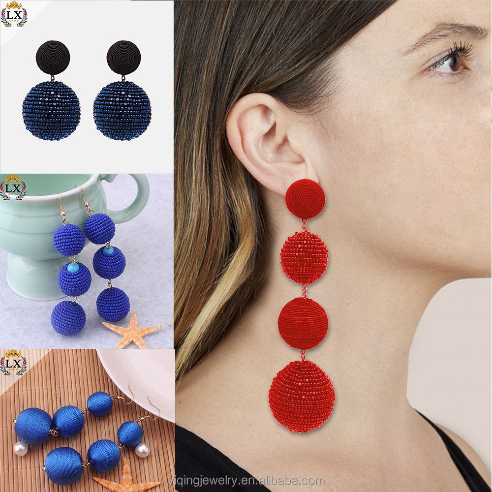 EYQ-00589 factory price fancy colorful handmade thread ball earrings wrap long bead tassel earrings acrylic seed for women
