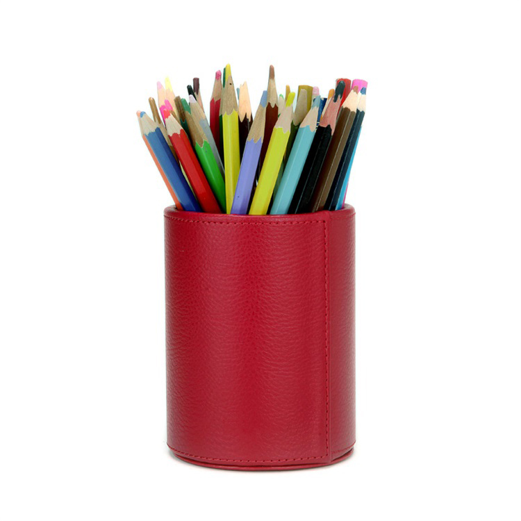 PU Leather Round Pens Pencils Container Desk Organizer
