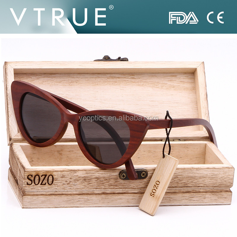 Cat Eye Red Wood polarized sunglasses Unique design ,spring hinges for Women decoration