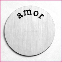 "Discount!!Memory locket floating charms plates 316L stainless steel ""amor"" letter"