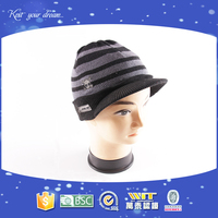 100% acrylic jacquard classic striped plain knitted women's peaked cap and hat