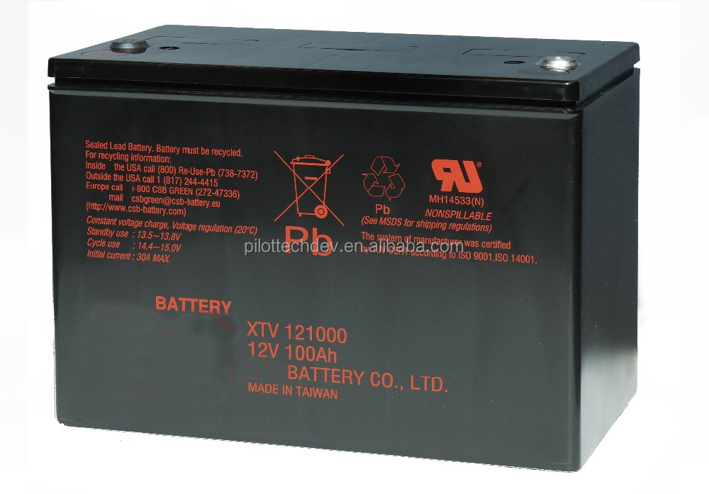 12 Volts 100 Amperes hour UPS Sealed Lead Acid Battery XTV121000