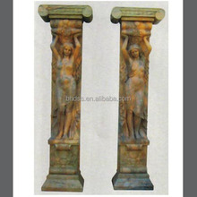 Hand Carved Stone /Marble Decorative Pillar with Lady Statues