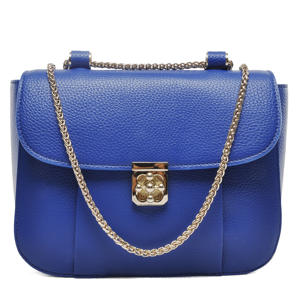 2017 Guodi New women professional macrame shoulder blue leather fashion bag