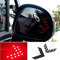 New 2 Pcs 14 SMD LED Arrow Panel For Car Rear View side Mirror Indicator Turn Signal Light (red )