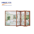 Aluminum folding door grills design double tempered glass good quality folding door hardware