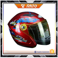 2016 new hot sale deep red decorative pattern motorcycle helmet
