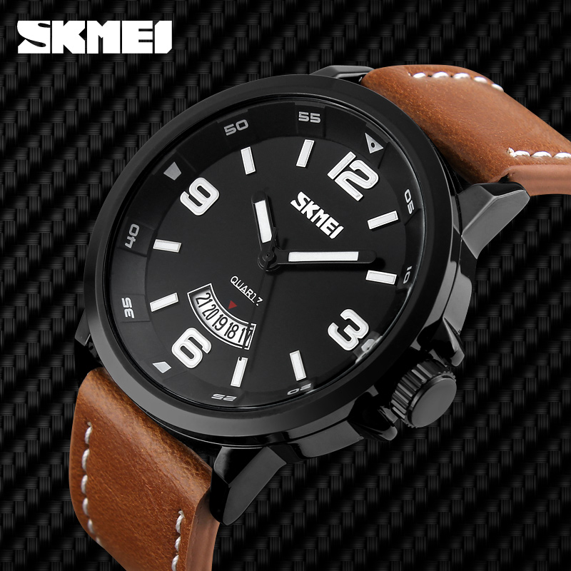 Fashion Casual Quartz Analog Water Resistant Leather Men 2016 New Backlight Watch Analog
