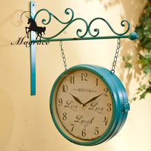 Vintage double sides green wrought hanging wall mounted clock for the corridor