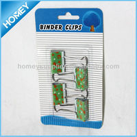beautiful printing binder clips, metal clip, in blister card packing