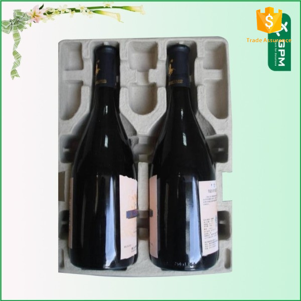 Customized Molded Pulp Paper Eco-Friendly Recycled Red Wine Bottle Carrier For Inner Red Wine Bottle Packaging Tray For Box