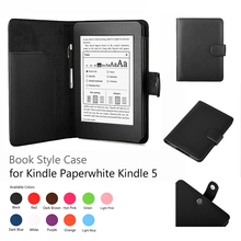 Pu leather book style magnetic case cover for Kindle Paperwhite with screen protector & stylus
