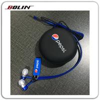 Promotional in-ear earphone with zipper, mobile phone wired earbuds, stereo zipper earphone