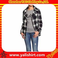 2014 european design comfortable cheap polyester blank plaid unique women winter coats