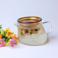 350ml china factory cheap price best selling amber colored lid glass kettle for flower tea coffee with unique irregular shape
