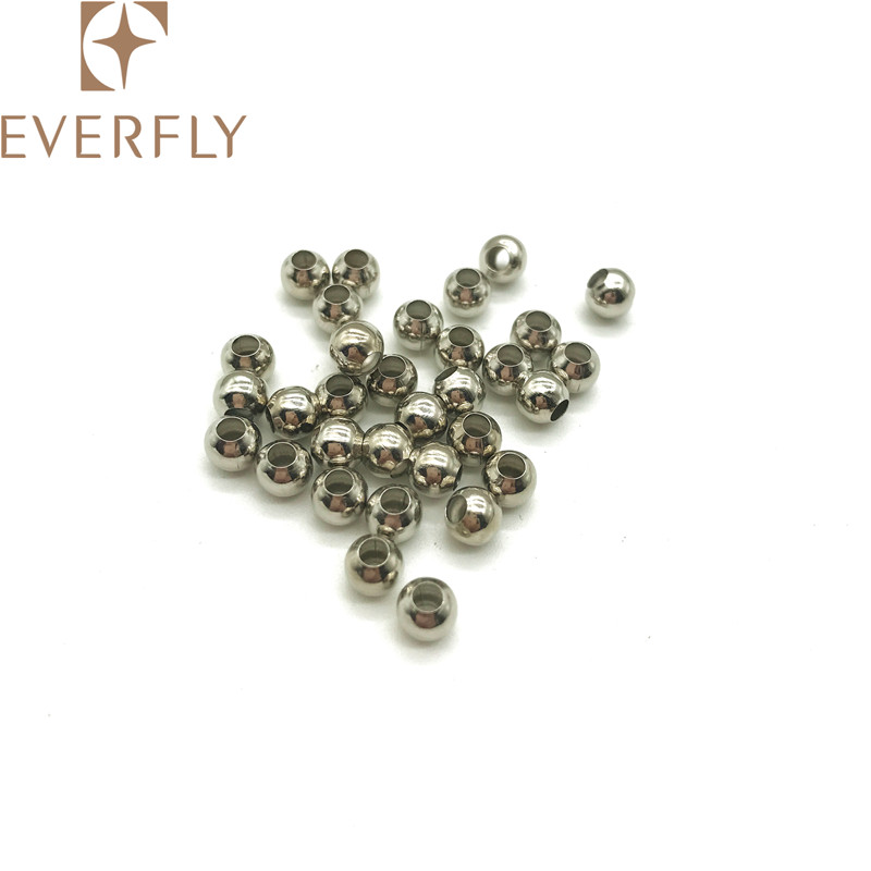 Brass silvery 5mm standard bracelet jewelry bead