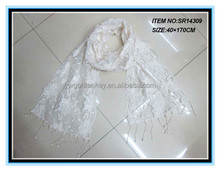 Hot selling chic lace scarf white lace scarf lace trim scarf for spring and Autum