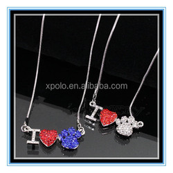 2015 fashion I love dog paw print necklace crystal love paw print necklace as gift