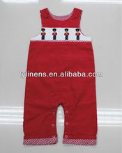 Machine smocking & embroidery red corduroy 100% cotton baby longalls