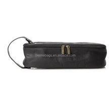 2014 dark brown metal zipper genuine leather wine bag carrier