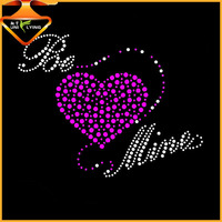 Bling Bling Heart crystal stone iron on hotfix Rhinestone Transfer Motif Appliques