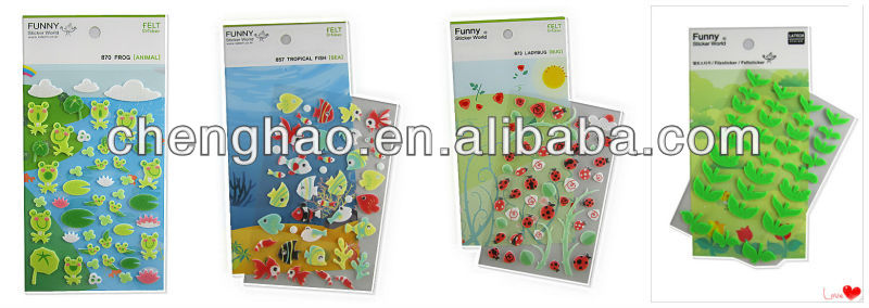 new style custom felt fabric canvas sticker for decoration
